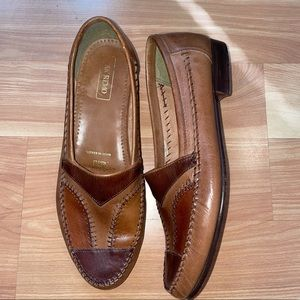 San Remo luxury handmade color block dress leather slip on loafers size 10.5